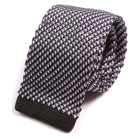 Black Patterned Silk Knit Tie