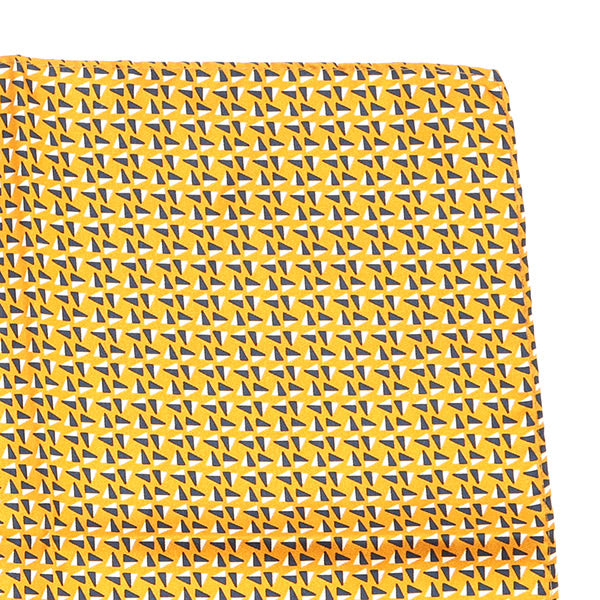 Yellow Patterned Silk Pocket Square