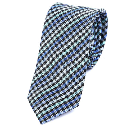 Blue & Light Green Check Slim Tie