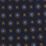 NAVY & BROWN MEDALLION SILK TIE