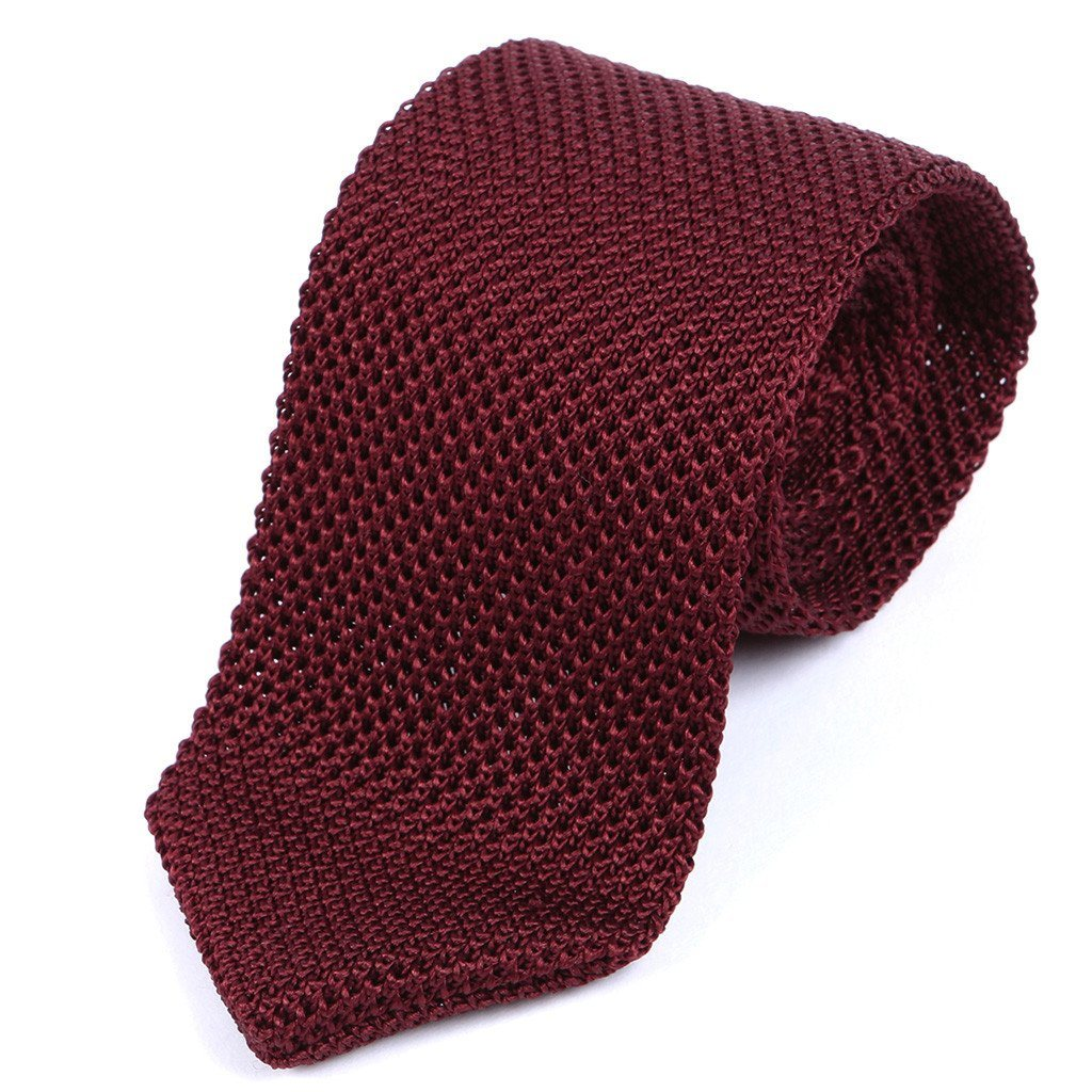 Slim Burgundy Silk Pointed Knitted Tie