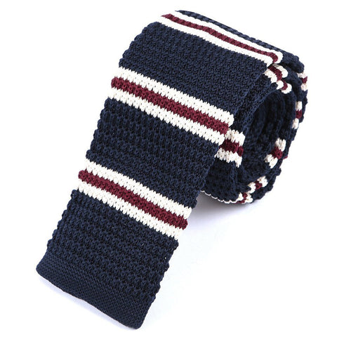 Red & Navy Striped Knit Tie - Handmade Limited Edition Ties by Tie Doctor