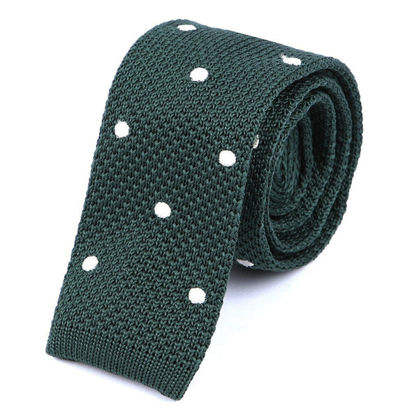 Green & White Polka Dot Knit Tie - Handmade Silk Wool And Knitted Ties by Tie Doctor