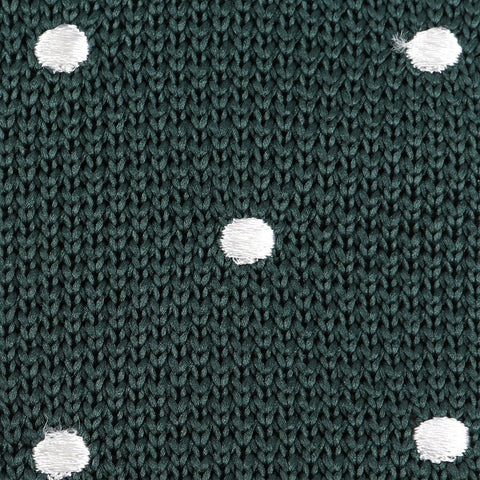 Green & White Polka Dot Knit Tie