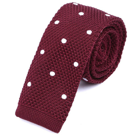 Red & White Polka Dot Knitted Tie - Handmade Limited Edition Ties by Tie Doctor