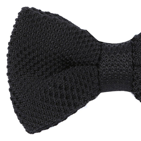 66001e782a51 ... Jet Black Knitted Pre-Tied Bow Tie - Handmade Silk Wool And Knitted Ties  by