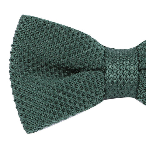 Green Knitted Pre-Tied Bow Tie - Handmade Silk Wool And Knitted Ties by Tie Doctor