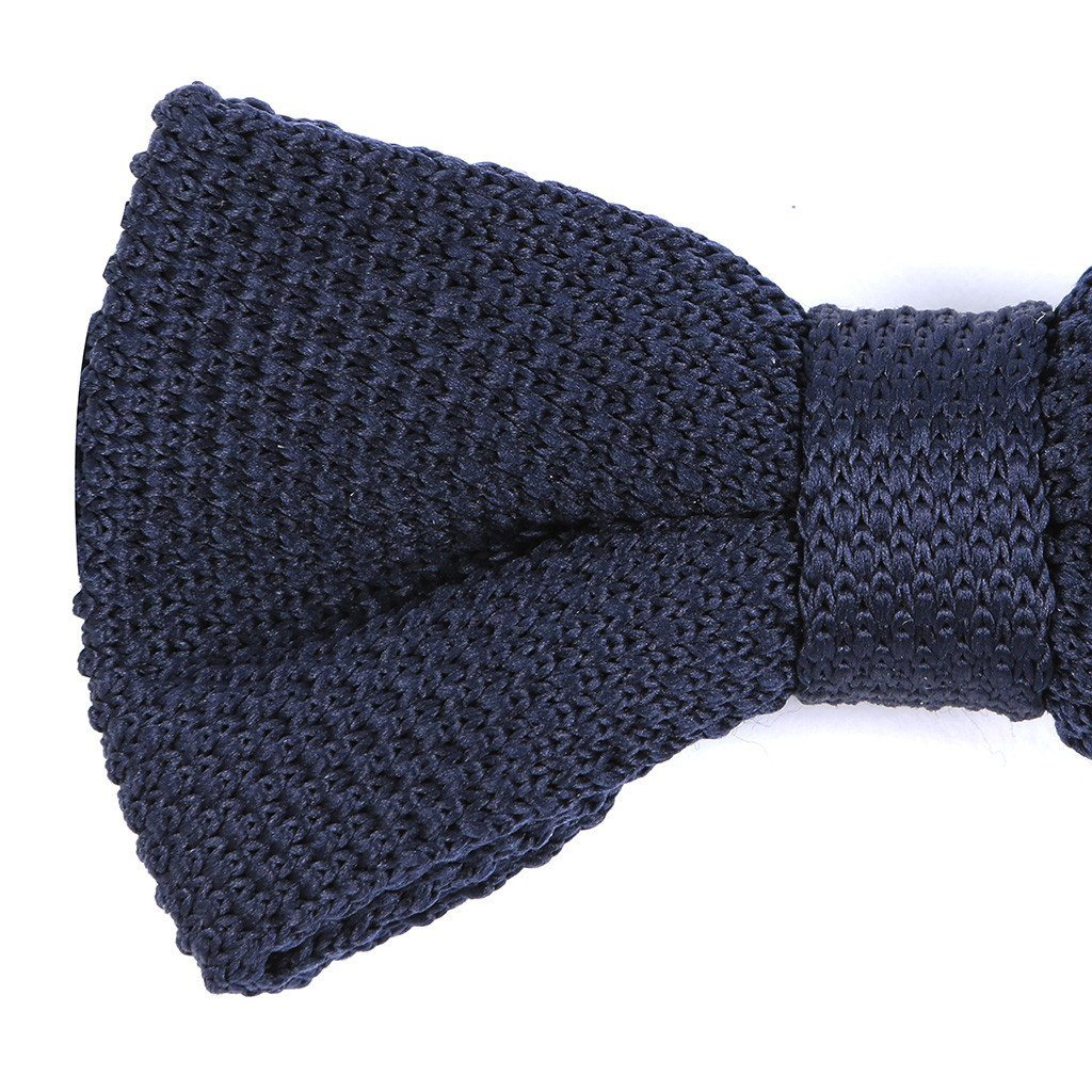 Navy Pre-Tied Knitted Bow Tie - Handmade Limited Edition Ties by Tie Doctor