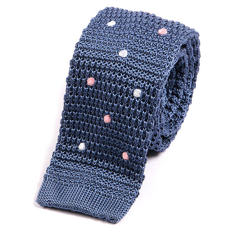 Blue Multi Coloured Polka Dot Silk Knitted Tie