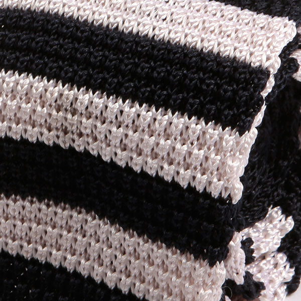 Navy and White Striped Silk Knitted Tie