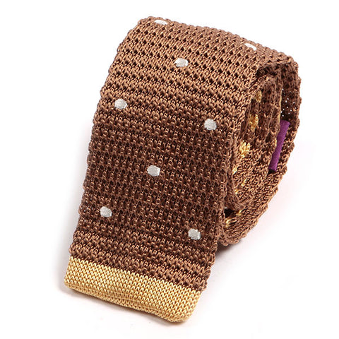 Brown Polka Dot Tip Silk Knitted Tie