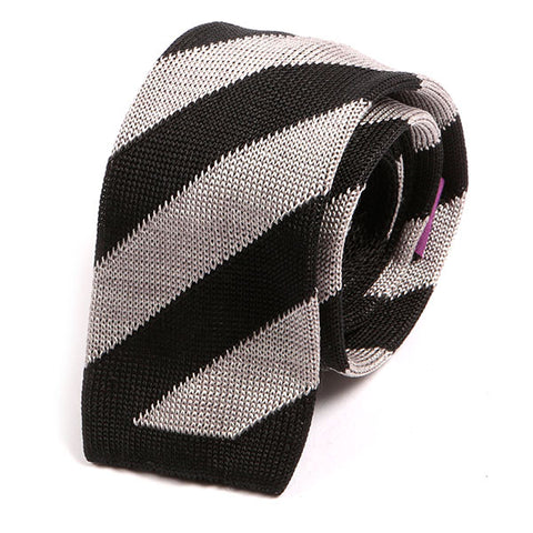 Black & Grey Striped Silk Knitted Tie