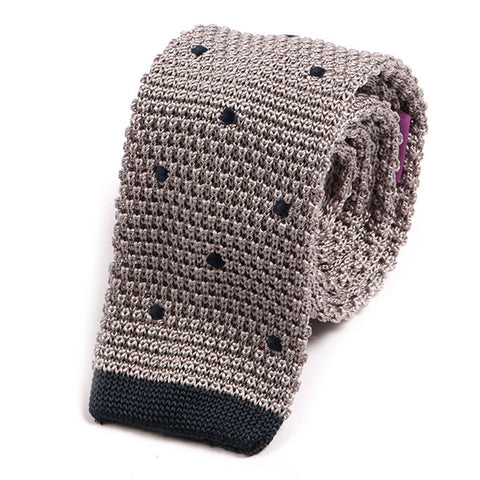 Grey Polka Dot Silk Knitted Tie