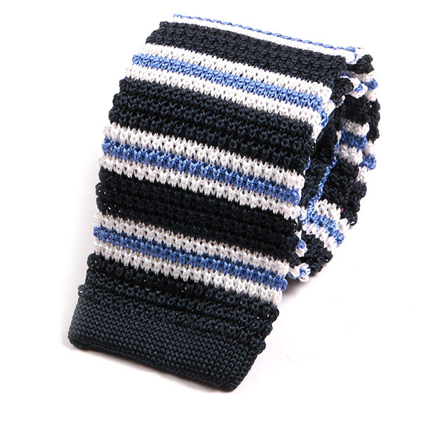 Navy & White Single Stripe Silk Knitted Tie