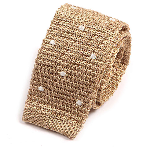 Cream Polka Silk Knitted Tie