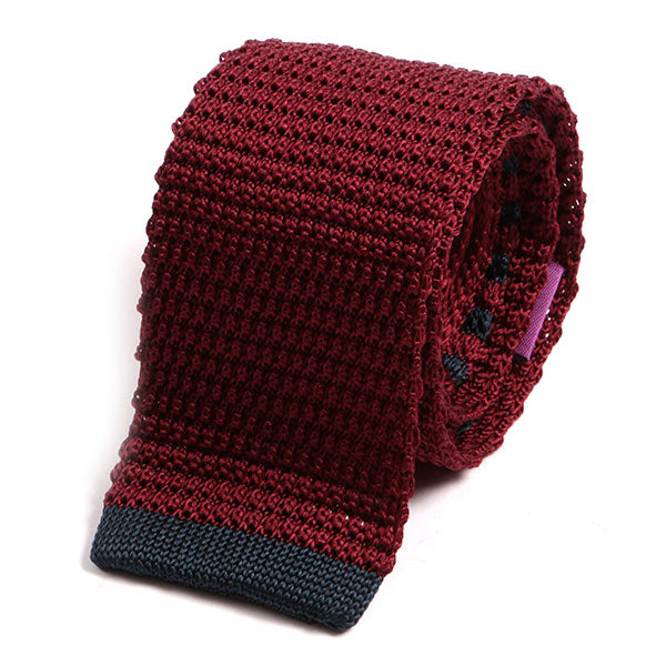 Burgundy Red Tipped Silk Knitted Tie