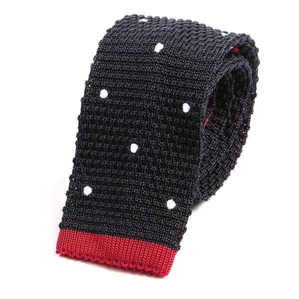 Navy Blue Red Tipped Polka Dot Silk Knitted Tie