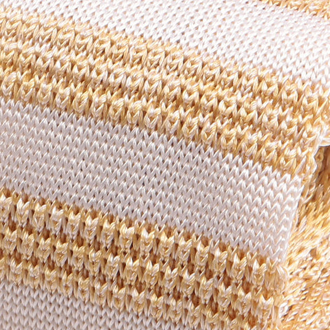 Breki Cream Striped Silk Knitted Tie