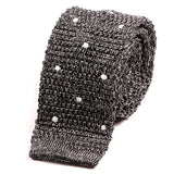 Black Granite Polka Dot Silk Knitted Tie