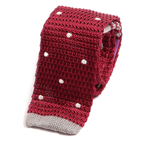 Red Polka Dot Silk Knit Tie