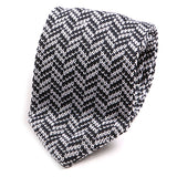 Best Seller White & Navy Silk Pointed Knitted Tie