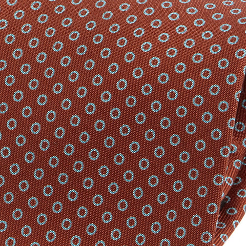 Light Brown Circle Patterned Extra Long Macclesfield Silk Tie