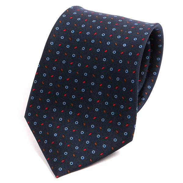 Navy & Red Micro Patterned Extra Long Macclesfield Silk Tie