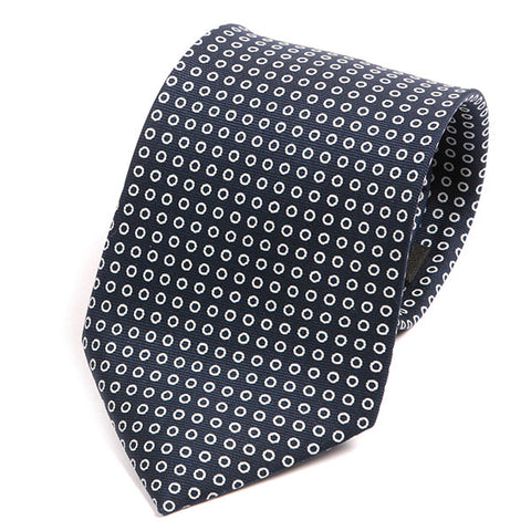 Navy Classic Circle Extra Long Macclesfield Silk Tie