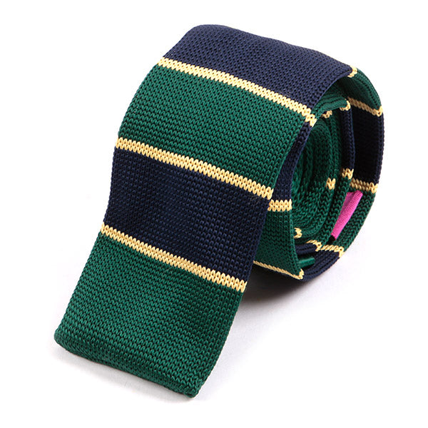 Green & Navy Striped Knitted Tie | Handmade Knit Tie