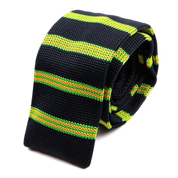 Navy Green & Yellow Striped Knitted Tie | Handmade Knit Tie