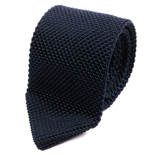 Navy Blue Pointed Silk Knitted Tie