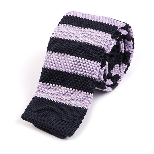 Light Purple Striped Knitted Tie - Handmade Silk Wool And Knitted Ties by Tie Doctor