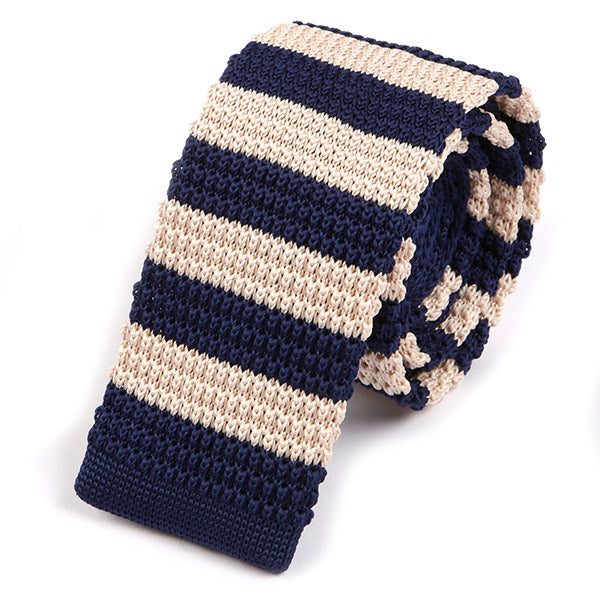 Navy and White Knitted Tie - Handmade Silk Wool And Knitted Ties by Tie Doctor