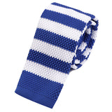 Blue Striped Knitted Tie | Handmade Knit Tie