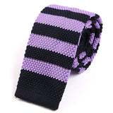 Purple Striped Knitted Tie