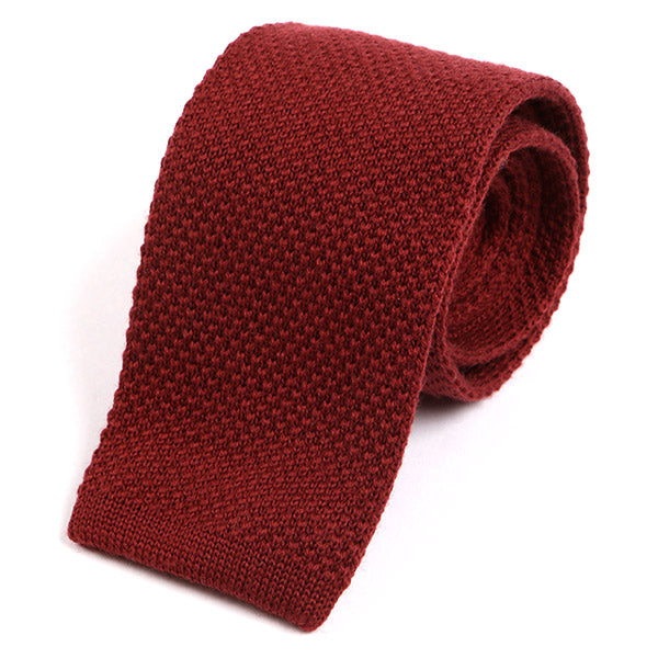 Dark Red Wool Knitted Tie - Handmade Silk Wool And Knitted Ties by Tie Doctor