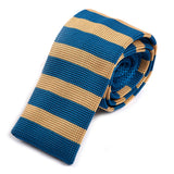 Blue and Cream Knitted Tie - Handmade Silk Wool And Knitted Ties by Tie Doctor