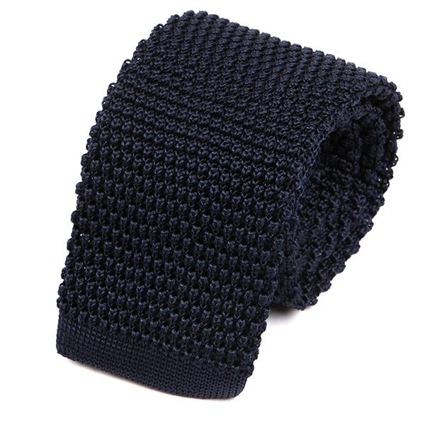 Best Seller Navy Silk Knitted Tie - Handmade Silk Wool And Knitted Ties by Tie Doctor