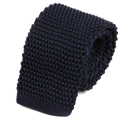 Navy Silk Knitted Tie - Handmade Limited Edition Ties by Tie Doctor