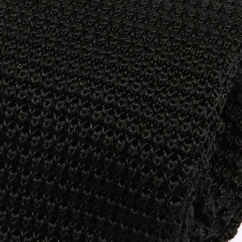 Jet Black Silk Knitted Tie - Handmade Limited Edition Ties by Tie Doctor