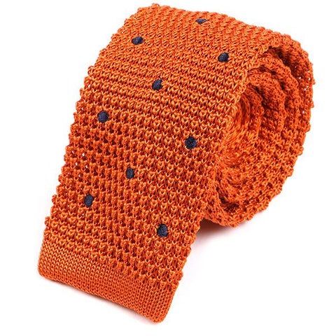 Orange Silk Dot Knitted Tie - Handmade Limited Edition Ties by Tie Doctor