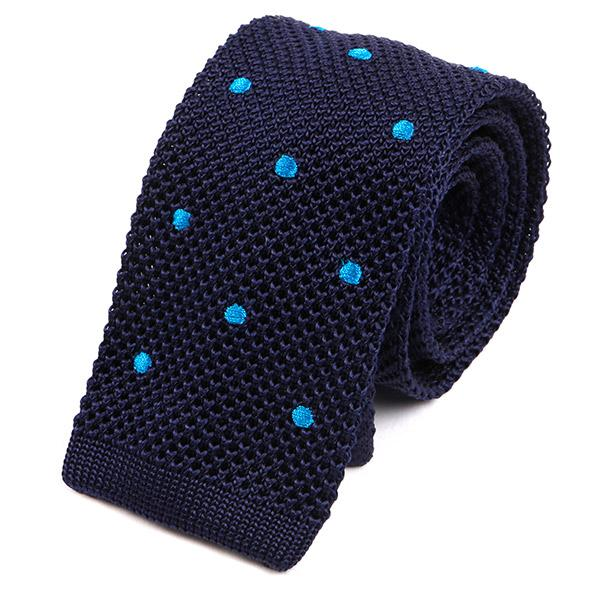 Navy Blue Silk Dot Knitted Ties