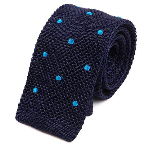 Navy Blue Silk Dot Knitted Ties - Handmade Silk Wool And Knitted Ties by Tie Doctor
