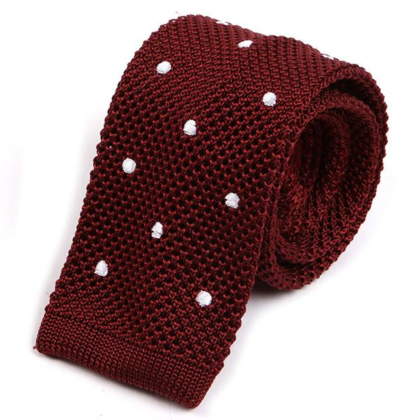 Burgundy Red Silk Knitted Tie - Handmade Silk Wool And Knitted Ties by Tie Doctor