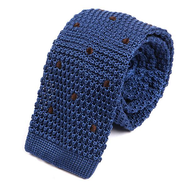 Blue Silk Dot Knitted Tie - Handmade Silk Wool And Knitted Ties by Tie Doctor