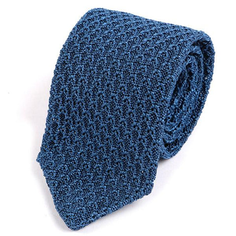 Blue Raised Pointed Silk Knitted Tie - Handmade Silk Wool And Knitted Ties by Tie Doctor