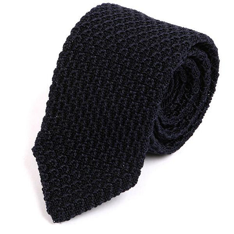 Navy Raised Pointed Silk Knitted Tie - Handmade Limited Edition Ties by Tie Doctor