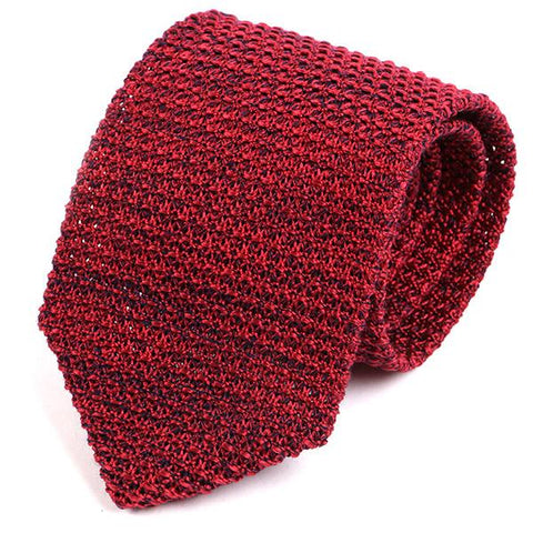 Red Marl Silk Knitted Tie
