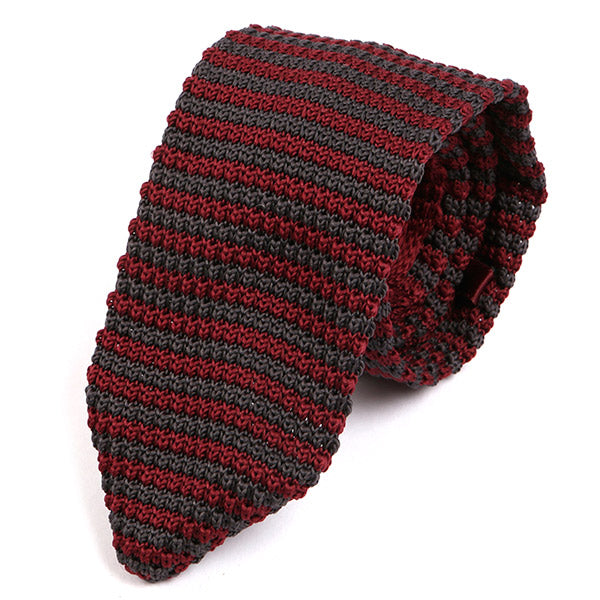 Burgundy & Grey Pointed Knitted Tie - Handmade Silk Wool And Knitted Ties by Tie Doctor