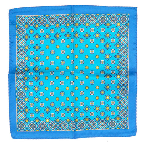 Light Blue And Yellow Floral Pattern Pocket Square